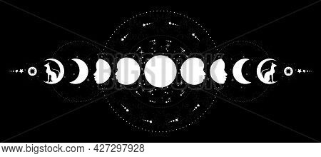 Phases Of The Moon. Triple Moon And Black Cats, Pagan Wiccan Goddess Symbol, Full Moon, Waning, Waxi