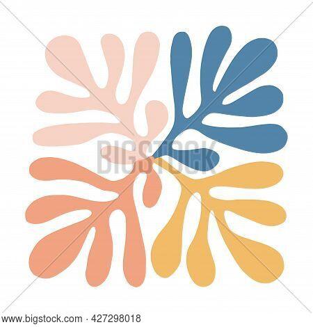 Retro Color Scandinavia Leaf Icon Botanical Illustration Graphic Resource