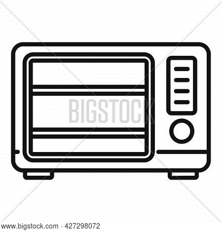Old Microwave Icon Outline Vector. Electric Convection Oven. Fan Kitchen Stove