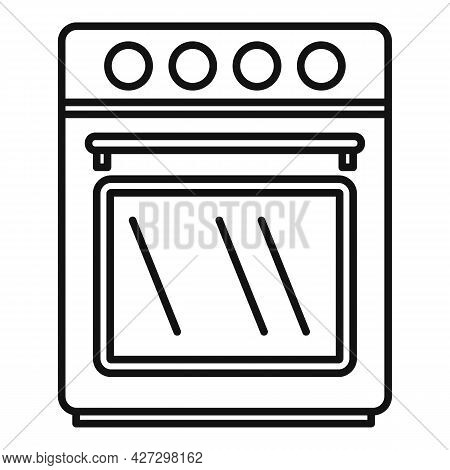 Front Convection Oven Icon Outline Vector. Electric Kitchen Stove. Grill Gas Oven