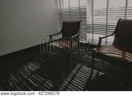 Empty Chairs With Light And Shadow In The Room. Furniture For Home Decoration In Vintage Style. Empt
