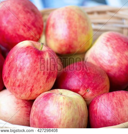 Red Ripe Apples In A Wicker Basket. Selective Focus