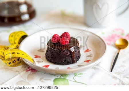 Diet Concept With Dessert And Slimming Measuring Tape.diet Concept With Tape Measure For Weight Loss