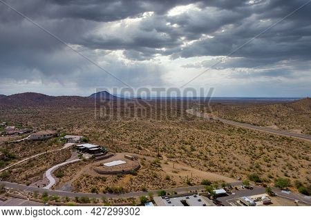 Panorama The Aerial View Of A Fountain Hills Small Town Near Mountain Desert Of Residential Suburban