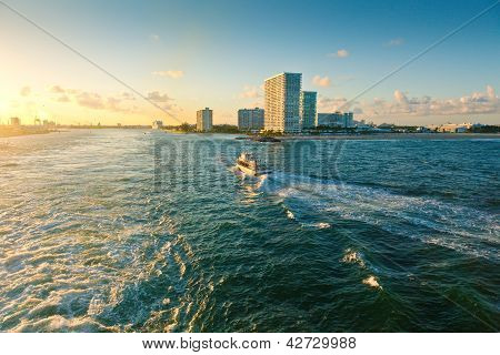 Boat on inter-coastal waterway in Fort Lauderdale Florida poster