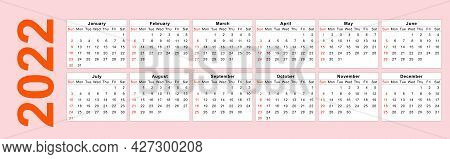 Calendar 2022 Corporate Design Template Vector. Happy New Year Tiger 2022