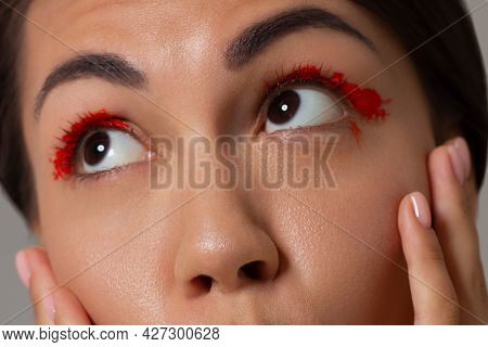 Cosmetics And Makeup. Beautiful Female Eye With Sexy Black Liner Make-up. Fashion Big Arrow Forever