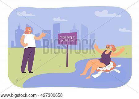 Girl Sitting On Inner Tube In Lake Prohibited For Swimming. Female Friend Standing On Shore, Warning