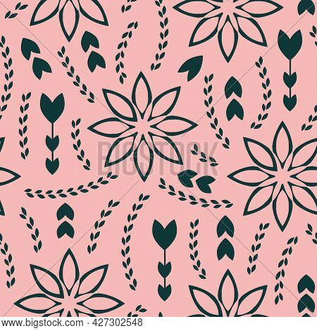 Vector Green Flowers Folk Pink Seamless Pattern