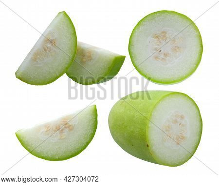 Fresh Wax Gourd  Isolated On White Background