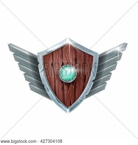 Wooden Shield Game Badge, Vector Level Up Rank Medal, Medieval Achievement Award On White. Fantasy R