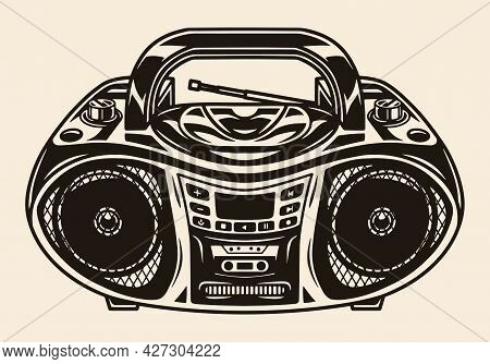 Old Portable Music Boombox Template In Vintage Monochrome Style Isolated Vector Illustration