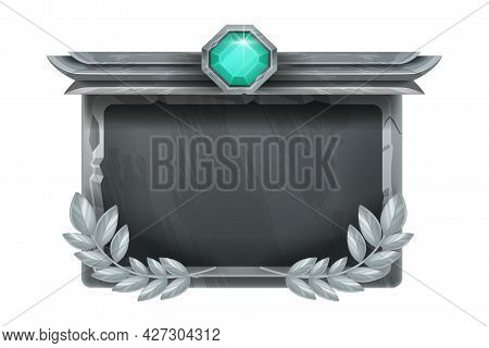 Game Ui Stone Frame, Vector Medieval Rock Background, Fantasy Metal Square Interface Panel, Crystal.