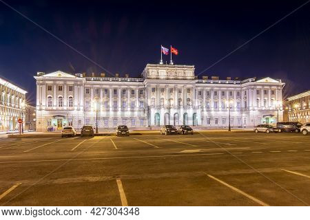Saint Petersburg, Russia - April 2019: Mariinsky Palace At Night On St. Isaac's Square