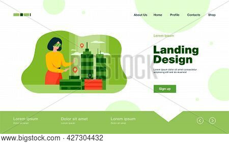 Woman Modeling 3d Office Buildings On Table Flat Vector Illustration. Cartoon Architect Engineer Wea