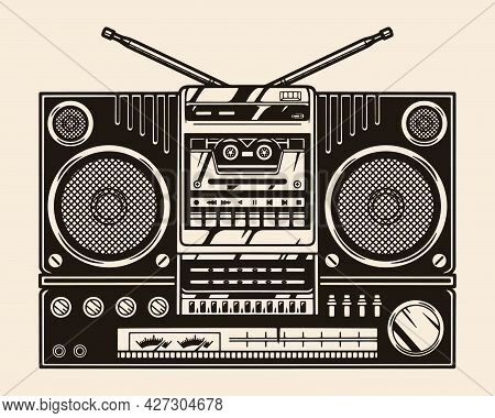 Portable Cassette Boombox With Audio Speakers And Radio In Vintage Monochrome Style Isolated Vector