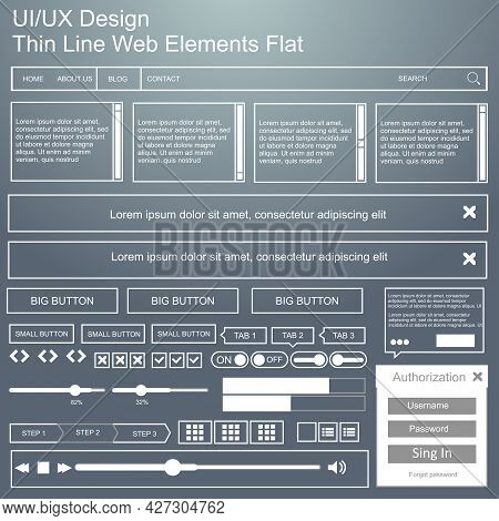 Vector Ui Ux Kit For Mobile Applications And Web Sites. Universal User Interface Template With Respo