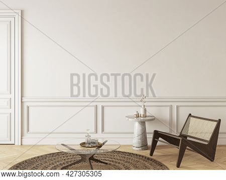 Classic Beige Interior With Lounge Chair And Decor. 3d Render Illustration Mockup.