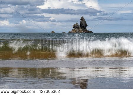 Church Rock Viewed From Broad Haven South Beach In Pembrokeshire