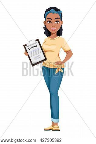 Happy Young African American Business Woman Holding Clipboard. Cute Businesswoman Cartoon Character.