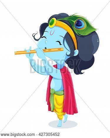Happy Krishna Janmashtami Greeting Card. Lord Krishna Kid Paying Flute. Stock Vector Illustration On