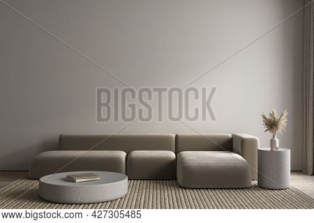 Modern Minimalism Interior With Sofa, Coffee Tables And Decor. 3d Render Illustration Mockup.