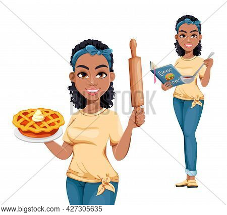 Pretty African American Housewife, Set Of Two Poses. Cute Lady Cartoon Character Doing Domestic Work