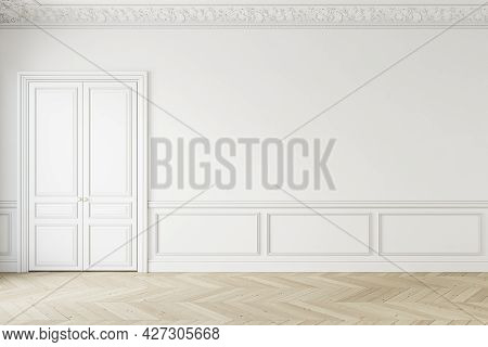 Classic White Empty Interior With Moldings And Door. 3d Render Illustration Mockup.