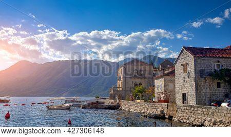 Historical Perast, A Popular Resort Town In Kotor Bay On Adriatic Sea, Montenegro