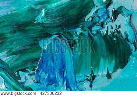 Abstract Ocean Art Background. Summer Marine Design With Acrylic Paints. Natural Blue-turquoise Wave