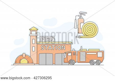 Municipal Or City Services For Citizen With Fire Station Department Vector Illustration