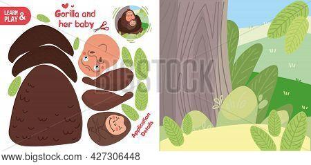 Cut Glue Gorilla And Her Baby Children Paper Application Game
