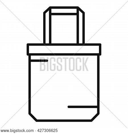 Reusable Eco Bag Icon Outline Vector. Fabric Cotton Cloth. Canvas Eco Bag