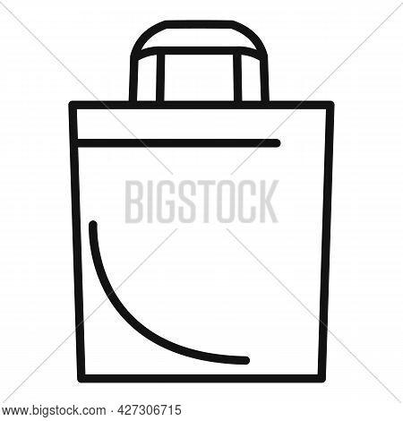 Canvas Eco Bag Icon Outline Vector. Fabric Reusable. Cotton Market Bag