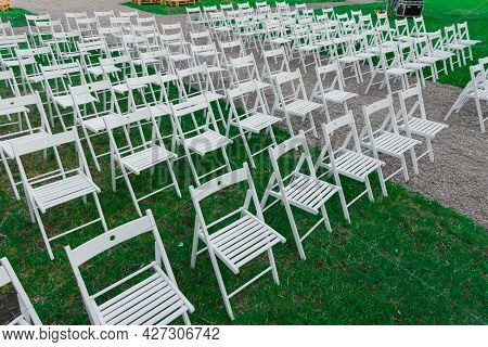 Ranks Of Chairs White Furniture Objects In Garden Outside Environment Space For Teambuilding And Str