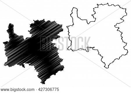 Rottweil District (federal Republic Of Germany, Rural District, Baden-wurttemberg State) Map Vector