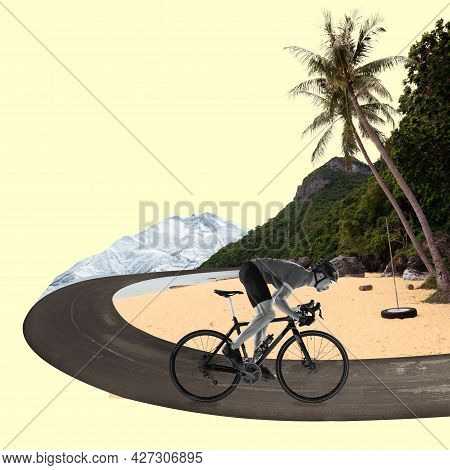 Riding A Bicycle. Side View Bw Image Of Professional Male Cyclist Riding On Asphalt Curving Road Alo