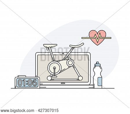 Online Sport And Cardio Physical Exercise With Computer Screen, Timer And Stationary Bicycle Line Ve