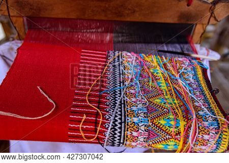 Traditional Woven Fabric Mae Chaem Pattern That Has Not Finished Weaving In The Loom At Mae Chaem Di