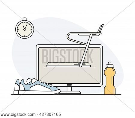 Online Sport And Physical Exercise With Computer Screen, Timer And Treadmill Machine Award Line Vect