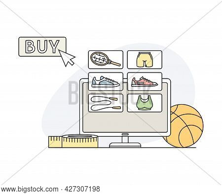 Online Sport And Physical Exercise Store With Athletic Equipment And Buy Button Line Vector Illustra