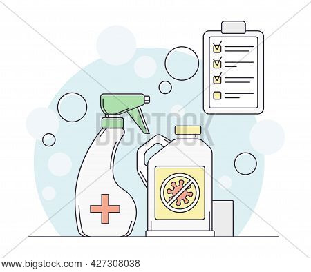 Pandemic With Antibacterial Agent And Sanitizer Bottle As Safety Measure Line Vector Illustration