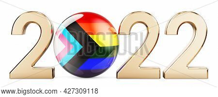 2022 With Modern Pride Flag Lgbtq. 3d Rendering Isolated On White Background