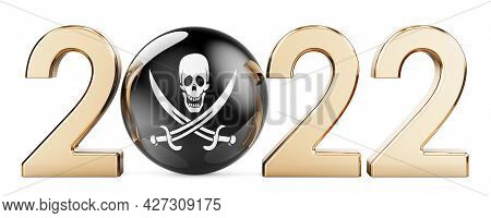 2022 With Pirate Flag. 3d Rendering Isolated On White Background