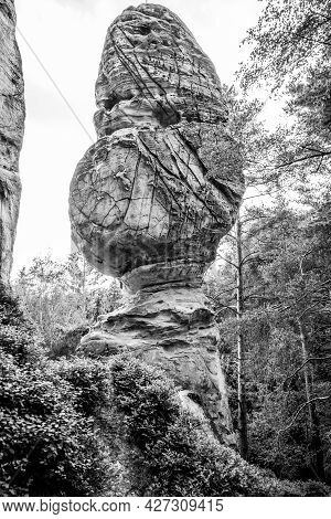 Sandstone Mushroom Rock Formation. Klokocske Rocks In Bohemian Paradise, Czech Republic. Black And W