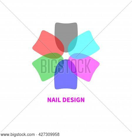 Logo For Nail Salon In Shape Of Flower Made Of Nails. Color Icon For Spa. Colorful Pastel Nail Polis