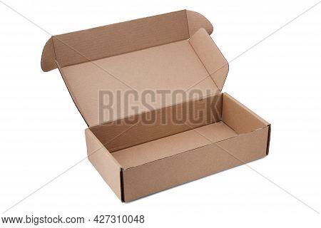Opened Cardboard Box Isolated On White.