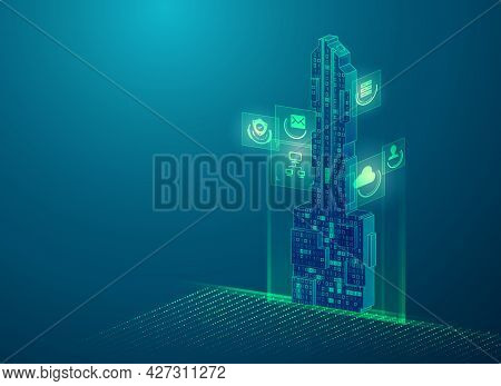 Concept Of Encryption Key Or Private Key, Graphic Of Futuristic Key Combined With Binary Code