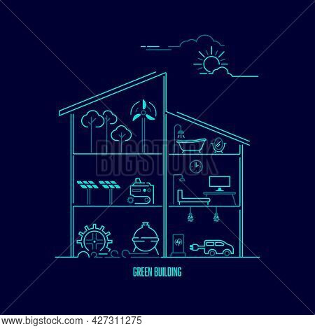 Concept Of Green Building Or Eco Friendly, Graphic Of A House With Ecological Element Inside