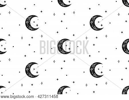 A Vector Seamless Backround Pattern With Crescents